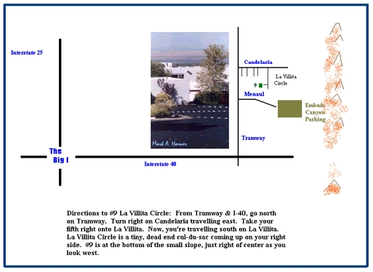 Graphic blending map and photograph of Linda Henning's adobe style home.