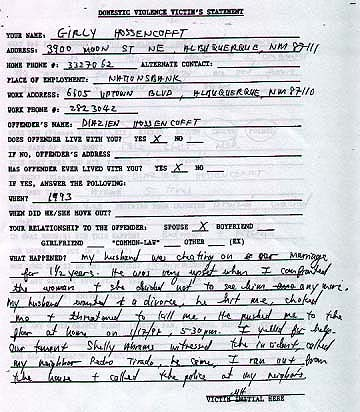 The Domestic Violence Victim's Statement filled out by Girly Hossencofft on January 17, 1998. This document was quoted in the previous edition of The Horner Report.