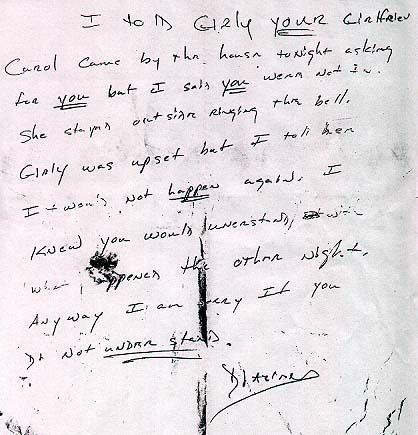 Handwritten letter from Diazien Hossencofft to roommate.