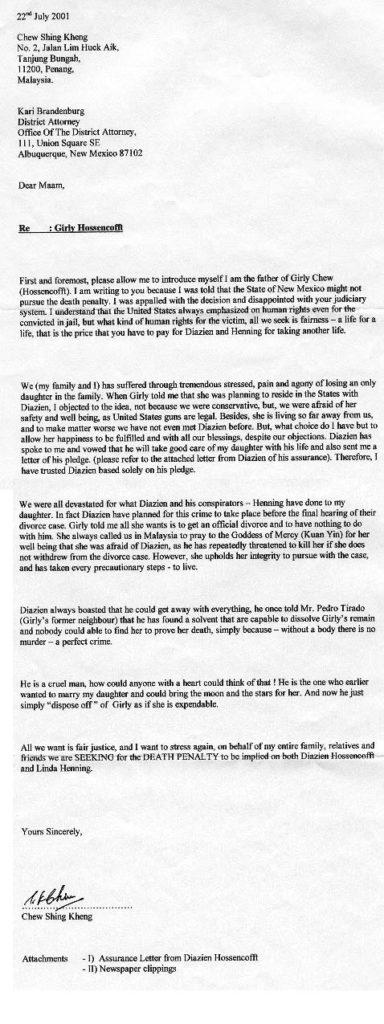 Typed letter written by Girly's father,  Chew Shing Kheng, to New Mexico District Attorney Kari Brandenburg on July 22, 2001.