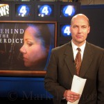 KOB-TV (NBC, Albuquerque) reporter Mark Horner in-studio standing-by to report for the station's 10pm newscast on October 30, 2002.