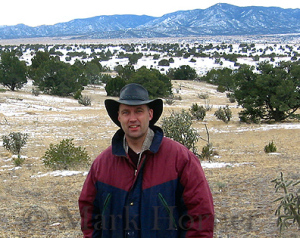 Mark Horner in the desert west of Magdalena, New Mexico, on December 21, 2002. This is the area investigators searched for Girly Chew Hossencofft's remains more than two years earlier.